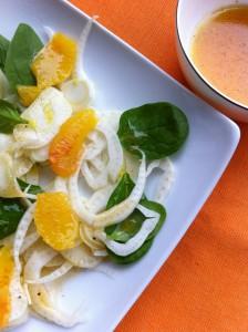 Insalata finocchi e arancia con olio aromatizzato