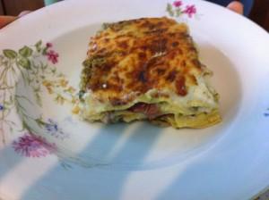 Lasagne con crema di zucchine scamorza e speck